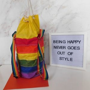 Vintage insulated rainbow back pack cooler bag